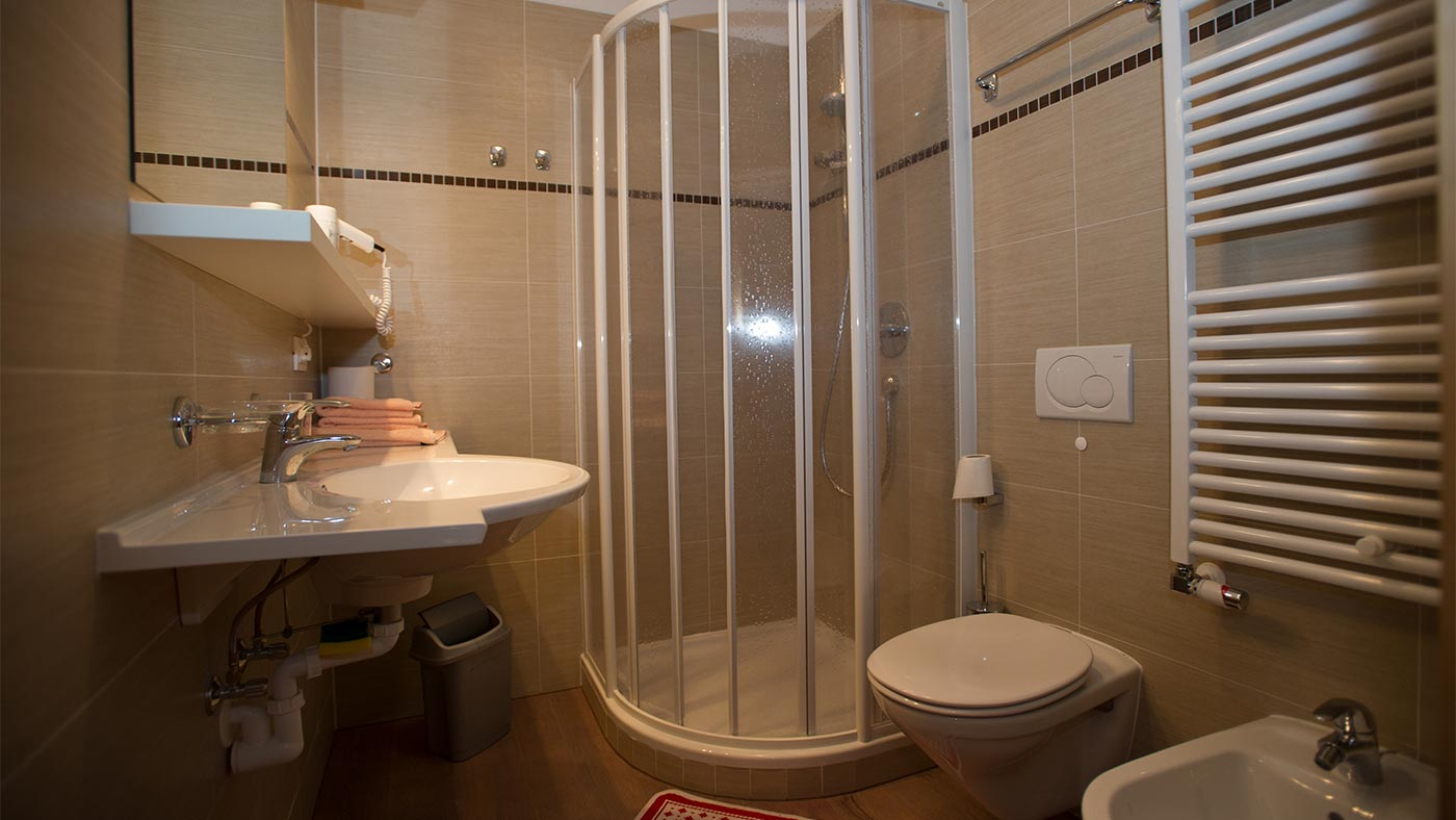 The bathroom with shower and bidet in the Residence Edelweiss